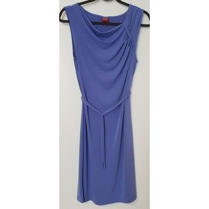 Periwinkle belted + draped tunic dress